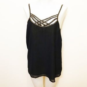 Ladt Dutch Chiffon Black Camil Top With Beads